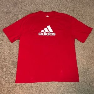 Adidas red with white logo short sleeve T-shirt